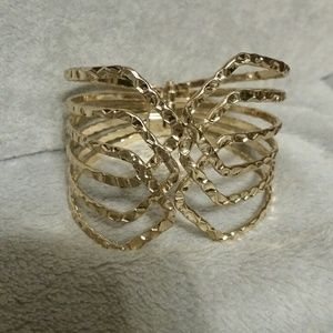 Jewelry - Gold-Bold hammered finish cuff bracelet.